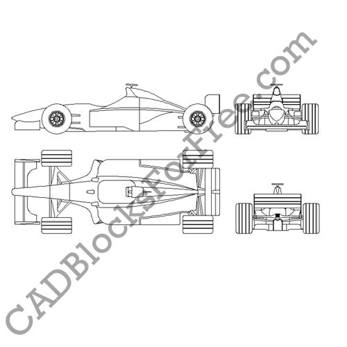 Formula 1 Car Free Autocad Block In Dwg