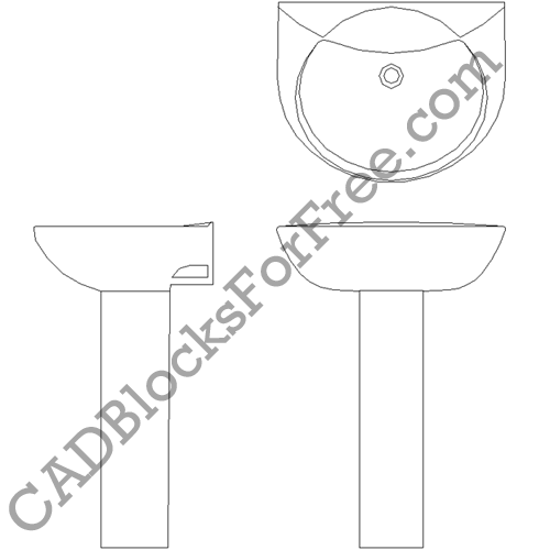 Bathroom Sink Free Autocad Block In Dwg