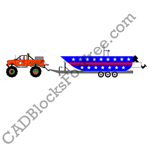 Truck with Boat on Trailer
